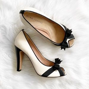 Marc Jacobs Bow Peep Toe Leather Heels